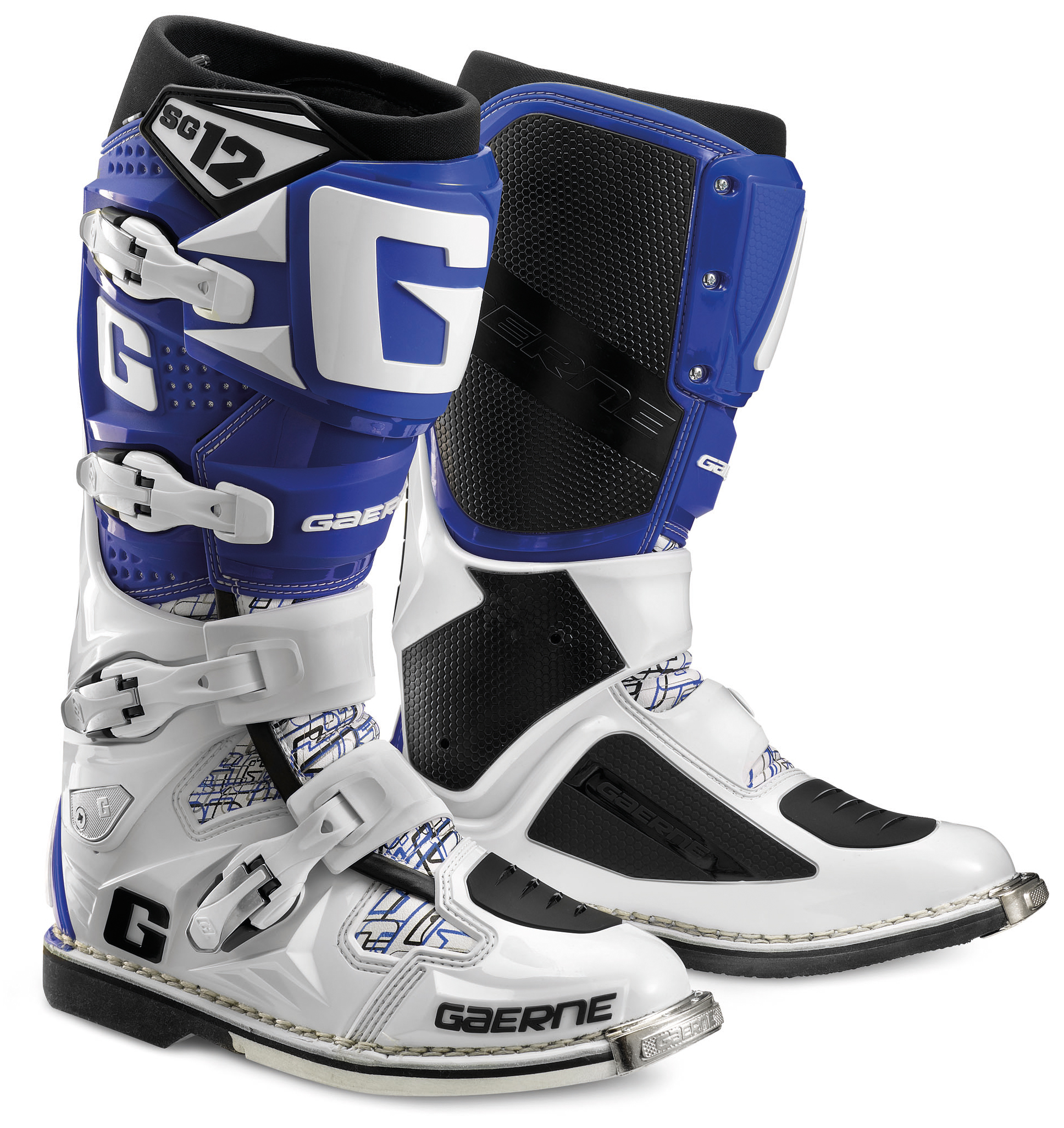 gaerne sg12 boot white blue motocross equipment motocross clothing from extremeworks mx. Black Bedroom Furniture Sets. Home Design Ideas